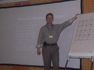 Joe presenting the memory seminar in Sopron, Hungary.